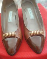 Womens Italian made shoes AMALFI size 8B CALF LEATHER Brown with GOLD VINTAGE