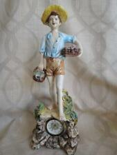Vintage Porcelain Figurine Clock Boy w/ Baskets
