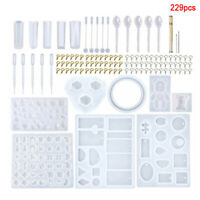 229PCS Silicone Resin Mold DIY Jewelry Pendant Making Tool Mould Handmade Craf.