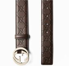 NEW GUCCI MEN'S BROWN GG GUCCISSIMA LEATHER LOGO BUCKLE BELT 110/44