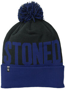 Volcom Men's Stoned Beanie Cap Winter Hat Black And Blue Snowboard Skateboard