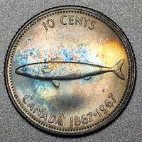 1967 Canada Dime 10C - Gem Uncirculated - Colorful Rainbow Toning