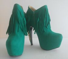 Privileged Lolla Turquoise Platform Fringe Ankle boot with Gold Metal Stilettos
