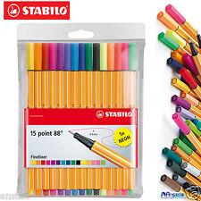 Stabilo fineliner point 88 à bille art stylos, standard 10 + 5 neon portefeuille de 15