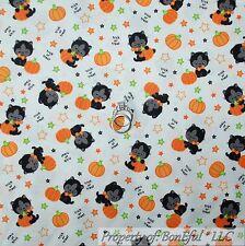 BonEful Fabric FQ Cotton Quilt White Orange Black Gray Kitty Cat Pumpkin Star US