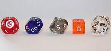 5 verschiedene Würfel je 1x D6 D10 D12 D20 D100 transparent Zahlenwürfel