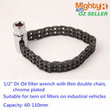 "1/2"" Dr Oil Filter Wrench w Thin Double Chain Sleeve Multi-function Cap:60-110mm"