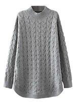 Minibee Women's Long Sleeve Sweater Mock Turtleneck, Style1-gray, Size X-Large 2