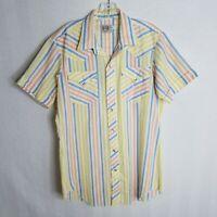 H Bar C Ranchwear Long Tail Mens Pearl Button S/S Western Shirt Sz 16 Large G309