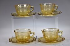 1932 - 1939 MADRID by Federal Glass AMBER Four Cup & Saucer Sets
