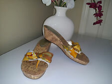 Unisa UNARDI Cork Wedges Sandals with Textile White/Yellow/ Brown Upper Sz. 7,5M