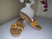 Unisa UNARDI Cork Wedges Sandals with Textile White/Yellow/ Brown Upper Sz. 7,5M