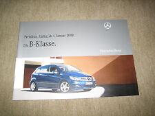 Mercedes B-Klasse T245 Preisliste price list vom 01.01.2009, 32 Seiten