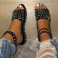 Women Rivet Studded Open Toe Punk Ankle Strap Flat Sandals Strappy Cool Shoes
