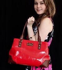 Kate Spade NY Red/Brown Patent Barclay Street ELENA Satchel Shoulder Handbag