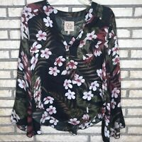 Chaser Womens Black Bell Sleeve Floral Palm V Neck Top Blouse Size Small
