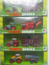 Lot de 4 Tracteurs Métal avec remorques et outils TRUCK SERIE DOBFUL  1/72  ème