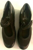 aerosoles stitch n turn womens 10w brown Leather Slip On Shoes with velcro strap