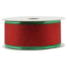 """New ! Christams Holiday Gift Wrap Spritz Fabric Ribbon - 1-1/2"""" X 36 Ft Red"""