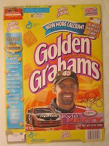 Empty GOLDEN GRAHAMS Cereal Box 2001 KYLE PETTY #45 13 oz