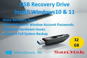 USB Tool - Recover, Repair, Reset Passwords - Install Windows 10 & 11. Fast P&P
