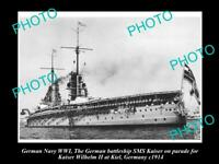 OLD POSTCARD SIZE PHOTO OF GERMAN NAVY WWI THE BATTLESHIP SMS KAISER c1914