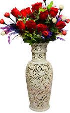 """18"""" Marble Flower Vase Engarving Flower Art Handmade Table Home Decor Gifts H735"""