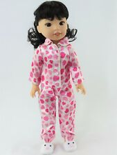 """Pink Heart Pajama Pant Set Fits Wellie Wishers 14.5"""" American Girl Clothes"""