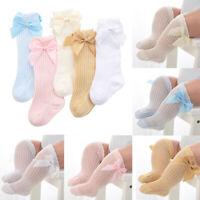 Babies Knee High Socks Bow Cotton Long Stockings Kids Cute Socks 0-3 Years US