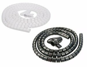 2M Cable Tidy Wire Kit PC TV Organising Wrap Cover Spiral Tube Home Office Work