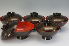 NEW Japan URUSHI Soup Bowl 5pc Set KARANURI-style w/box Free Ship 939f36
