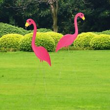 2 Pink Flamingos Plastic Yard Garden Lawn Art Ornaments Decoration Stake 90x35cm