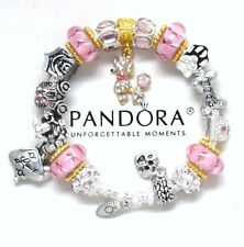 Pandora Silver Charm Bracelet Pink Poodle Dog Birthday Mom European Charms