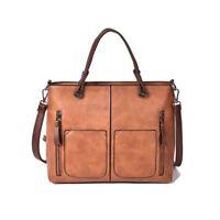 Faux PU leather messenger bag handbag shoulder bag for women ladies brown