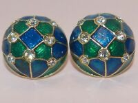 Vintage blue and green enamel clip-on earrings with brilliant white rhinestones