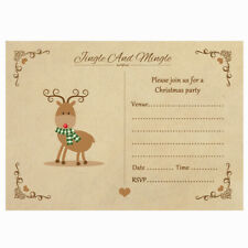 Vintage Reindeer Christmas Party Invitations With Kraft Envelopes - Pack Of 20