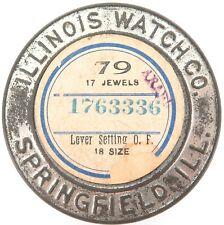 .1905 ILLINOIS 18S 17J OPEN FACE POCKET WATCH MOVEMENT CASE / SHIPPING TIN.