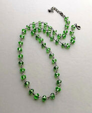 Green crystal glass bead necklace .. bronze tone vintage style elegant jewellery