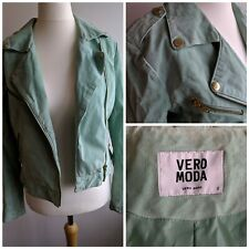 Vero Moda Mint Green Suede Biker Jacket Size Small 8/10 Stained