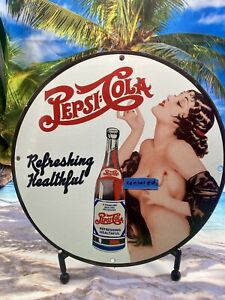VINTAGE PORCELAIN PEPSI COLA PINUP GIRL SODA  SIGN MAN CAVE GAME ROOM