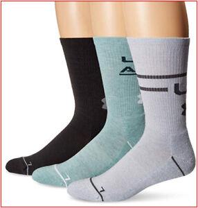 3 Pairs - Under Armour Phenom 4.0 CREW Socks Wicks Large - Green Gray 🌟NEW🌟