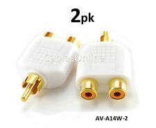 2-PACK RCA Male Plug to 2-RCA Female Jack Audio Video Splitter White Adapter