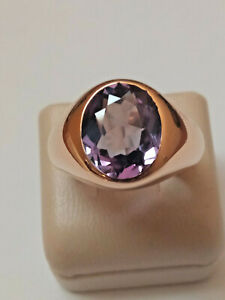 10K Yellow Gold Purple Sapphire Ring Size 7 1/2 Men's