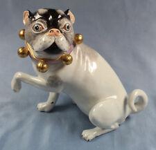 Mops mit Schellen  hund figur gemarkt porzellanmops pug hundefigur mopsfigur N