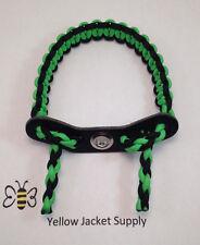 Archery Paracord Bow Wrist Sling Green / Black 7 hole Leather Yoke