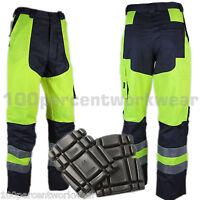 Delta Plus MHPAN Mens Work High Hi Viz Vis Cargo Trousers Pants + FREE Knee Pads