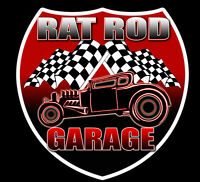 "Rat Rod Garage Vintage Hot Rod HUGE GIANT Decal Vinyl Sticker - 2pack 12"" tall"