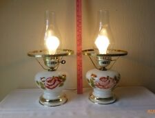 Vintage Glass Hurricane Table Lamps Painted Roses Pink Flowers Set of Two