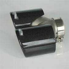 150mm Zweirohr Auto Auspuffblende Auspuff Rohr Glanz Kohlefaser 60mm Universal