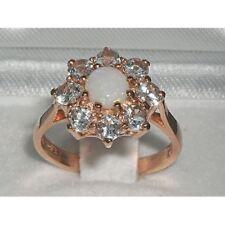 HIGH QUALITY 9CT ROSE GOLD OPAL AQUAMARINE CLUSTER RING